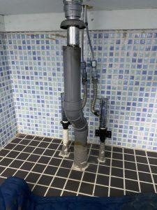 吹田市 洗面の排水が臭い・・・。 排水トラップ新設します。