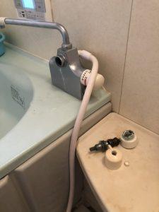 豊中市 デッキタイプお風呂の蛇口の交換 マルチ水栓