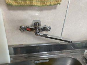 茨木市 台所蛇口水漏れ 壁付シングルレバー 蛇口交換