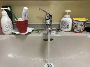 西宮市 洗面蛇口水漏れ シングルレバー 2ホールタイプ ポタポタ